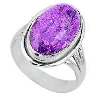 925 Silver 8.42cts Natural Purple Stichtite Oval Solitaire Ring Size 8.5 R63549