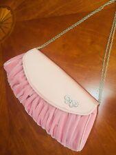 Pink and Silver Diamante Evening Purse. Accessorize Handbag. Satin Velvet Ripple