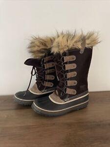 Sorel Snow Boots Tall Joan Of Arc StyleLeather Tall Winter Fur Boots Sz 9 Brown