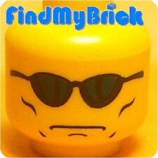 H321A Lego Minifigure Head with Blue Sunglasses Terminator MIB Pattern NEW