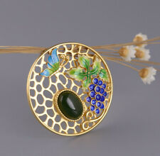 I05 Pendant Silver 925 Gold Plated Cloisonne Jasper Green Grapes Butterfly