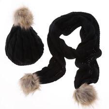 Women Ladies Knitted Beanie Hat Scarf Gloves Set Warm Winter Snow Skateboard Pom