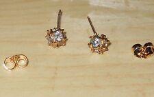 --10K Rose Gold GF 7mm Crystal Stud Magic Ball Earrings, Earings, Girls Womens
