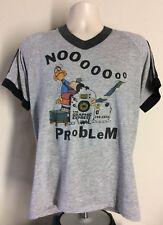 Vtg 1984 No Problem Graphic Express Raglan Ringer T-Shirt Heather Gray L 80s