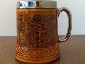 Vintage (1968) Lord Nelson Pottery Porcelain Tankard With Platinum Handle & Rim