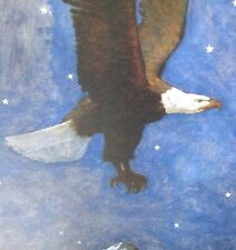 Vintage Art N C Wyeth American Eagle Flight Stars Blue Sky DETAIL Study Bald US