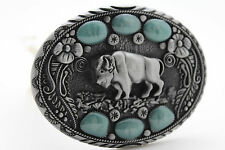 Men Western Buckle Silver Metal Cowboy Bison Buffalo Ox Turquoise Blue Stons