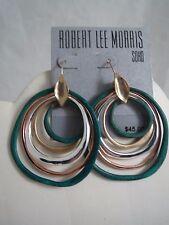 Robert Lee Morris patina~silver~gold & rose tone hoop earrings  ,NWT