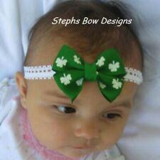 St Patricks Day Shamrock Dainty Hair Bow Lace Headband 4 Preemie Newborn Toddler