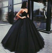 Black satin Ball Gown Quinceanera Dress Long Party Formal Prom Wedding Gowns