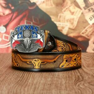 Western Cowboy Men's Leather Dai Personality Embossed Belt