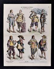 1880 Braun Costume Print 17th c Princely Dress English Flemish Noblemen Soldies