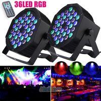 2 x 36 LED RGB Par Stage Light Sound Activated DMX DJ Disco Club Party Lighting