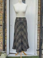 M&S Autograph Brown Beige Mix Midi Skirt Tweed Wool Knit Flare Size UK 12