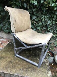 Vintage Aircraft Aeroplane Plane Chair Canvas Horse hair Aluminium Luftwaffe