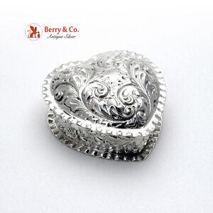 Heart Shape Pie Crust Box Sterling Silver Gorham 1892 No Monogram