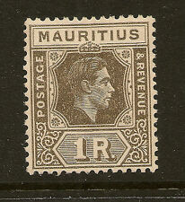 MAURITIUS: 1949 1 rupee drab 'battered 'A' variety  SG 260ca   mint