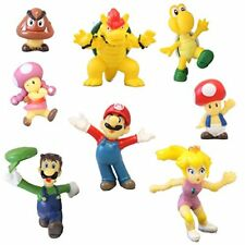 NEW 8 Super Mario Brothers Figures Cake Toppers 1 2 inch PVC Toys FREE SHIPPING