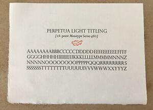 New Letterpress Type - 18 point Perpetua Light Titling (alphabet only)