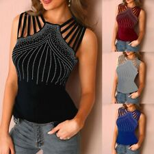 Summer Womens Casual Sleeveless T Shirt Evening Party Tops Loose Sexy Blouse