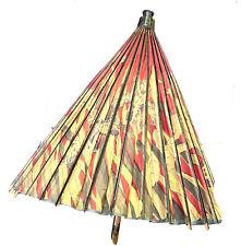 New listing Vintage Antique Asian Carved Wood Bamboo Papier-mâché Tent Parasol Umbrella Old