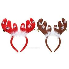 Christmas Bell Feather Decorations Boys Girls Antlers Xmas Headband Party Ctue