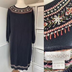 Monsoon Black Floral Jumper Dress Size 20 Knee Length Embroidered Wool Blend