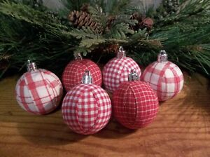 "6 Red & White Plaid Small 2"" Glitter Rag Balls Rustic Farmhouse Ornaments,New"