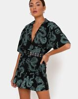 MOTEL ROCKS Fresia Dress in Dragon Flower Black and Mint *Belt not incl*  (mr94)