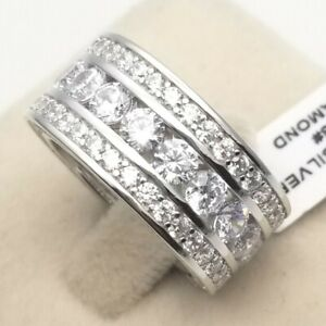 Men's Genuine 925 Sterling Silver Strong Set Cubic Cocktail Wide BIG Band Ring