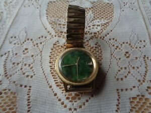 Zodiac Guardsman Men's Gold Automatic Swiss Made Unique Jade Dial Watch Works