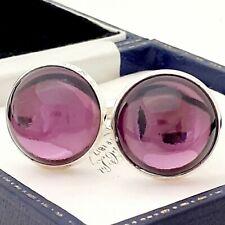 Vintage 1970s Amethyst Purple Glass - Large Round Silvertone Cufflinks