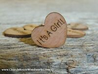 """100 qty 1"""" It's A Girl! Wood Hearts Table Confetti Wooden Wedding Decor"""