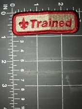 Vintage BSA Boy Scouts of America Trained Patch Red Tan Training Leadership
