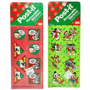 New Vintage Disney Warner Bros Holiday Stickers Mickey Mouse Looney Toons 2 Pkgs