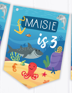 Personalised Under the Sea - Happy Birthday Bunting  - Children's Banner