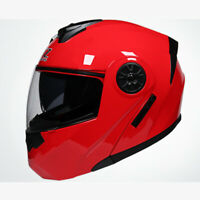 DOT Modular Helmet Flip Up Motorcycle Motocross Helmet Full Face Dual Visor Red