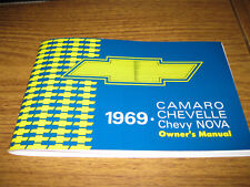 1969 69 CAMARO, NOVA, CHEVELLE, MALIBU, EL CAMINO (ALL MODELS) OWNERS MANUAL