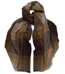 Hogarth 50% Cashmere 50% Merino Wool Brown Fading Check Scarf BNWT 50cm x 184cm