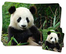 Panda Bear 'Love You Mum' Twin 2x Placemats+2x Coasters Set in Gift , ABP-1lymPC