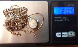 9CT GOLD SCRAP GOLD NECKLACE'S, RING, WATCH. 21GRAMS