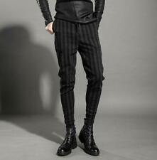 Mens Gothic Wool Cashmere Pants Pinstripe Slim Casual Harem Trousers