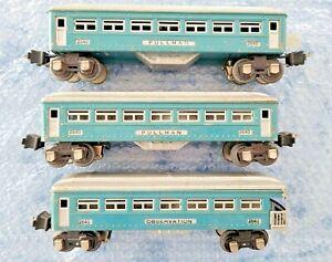 Lionel Prewar 2640 + 2640 + 2641 Passenger Cars
