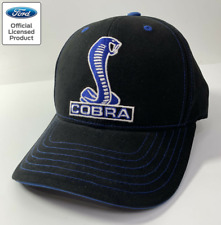 Shelby Cobra Mustang Hat / Cap - Black w/ Blue & White Snake Logo / Emblem