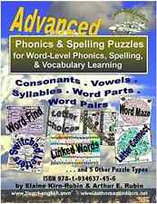 Phonics & Spelling Puzzles, Advanced, Reading, Writing, Vocabulary in English