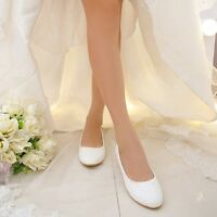 Real Silk Satin Lace White Ivory Red Wedding Bridal Flat Shoes Ballet Full Size