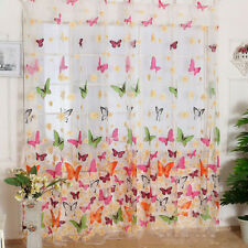 Butterfly Flower Sheer Curtain Panel Window Balcony Tulle Valance Drape 1x2M