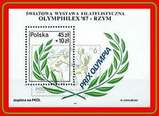 POLAND 1980's OLYMPICS  S/S MNH SPORTS, FENCING, STAMP on STAMP
