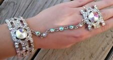 Bracelet with ring chain slave hand an aurora crystals bridal new elegant silver