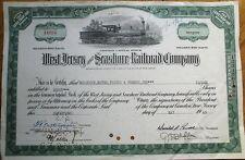 West Jersey & Seashore Railroad 1965 Stock Certificate - Camden, New Jersey NJ
